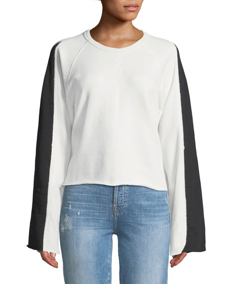 Flare-Sleeve Crop French Terry Sweatshirt