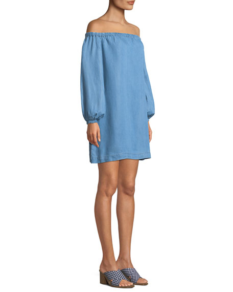 Off-the-Shoulder Blouson-Sleeve Chambray Short Dress