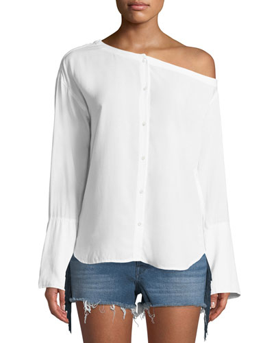 Faye One-Shoulder Button-Down Top