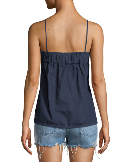 Square-Neck Slipover Denim Tank