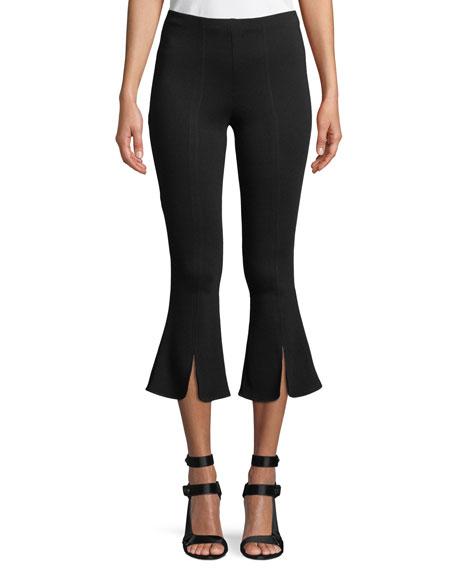 Pshaw Split-Hem Flare-Leg Cropped Pants