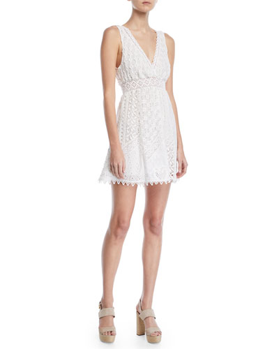 City Slicker Sleeveless Cotton Eyelet Mini Dress