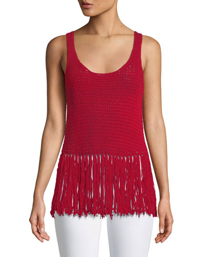 Sage Brush Sleeveless Fringe Sweater