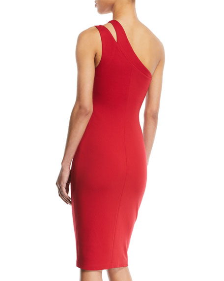 Sidewinder One-Shoulder Knee-Length Dress