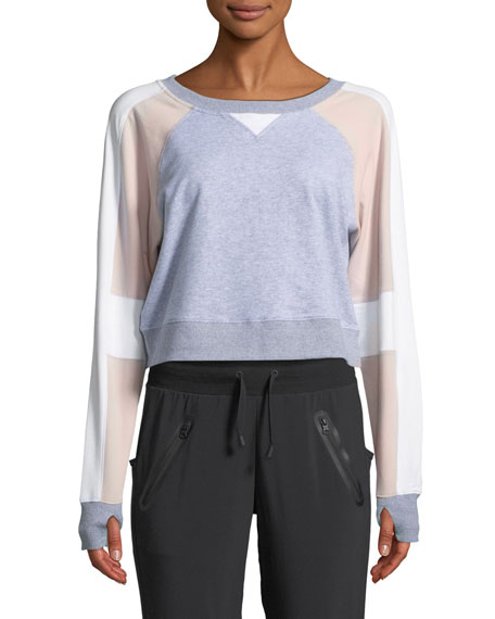 Blanc Noir Flashback Colorblock Cropped Sweatshirt