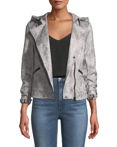 Hooded Zip-Front Moto Jacket