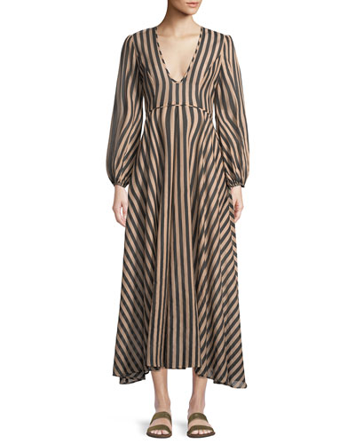 Jaya Plunge Long Striped Cotton Dress