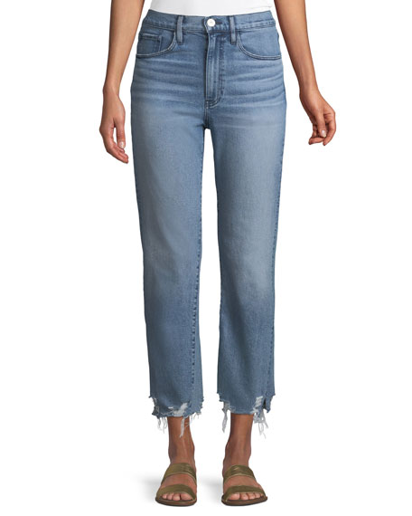 3x1 W4 Relaxed Straight-Leg Crop Jeans w/ Split