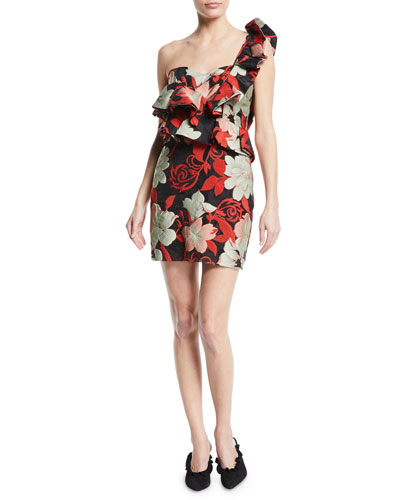 Katalina Ruffle One-Shoulder Mini Cocktail Dress
