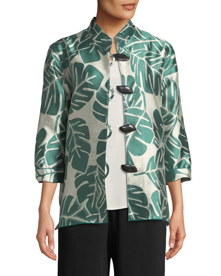 Caroline Rose Paradise Palm Jacquard Mandarin-Collar Jacket, Plus