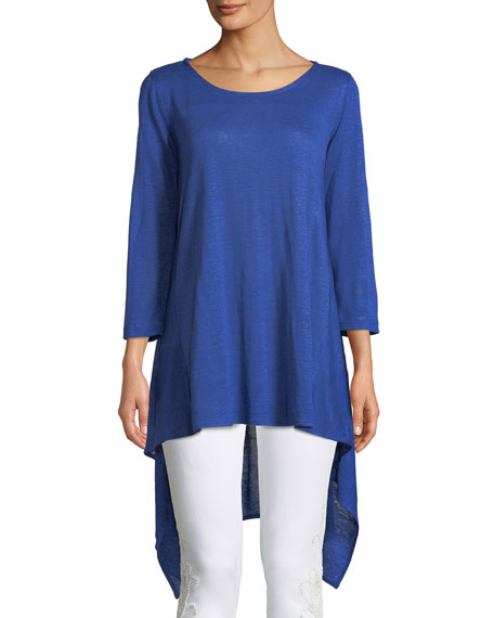Caroline Rose Long-Sleeve High-Low Linen Tunic