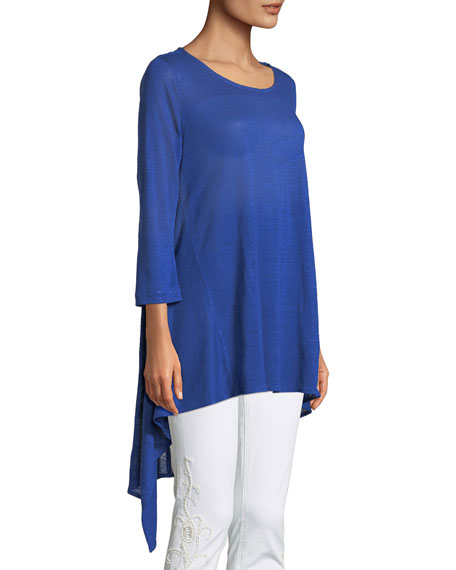 Long-Sleeve High-Low Linen Tunic, Plus Size