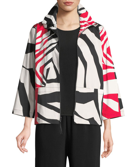 Caroline Rose Wild Card Ruched-Collar Zip-Front Jacket