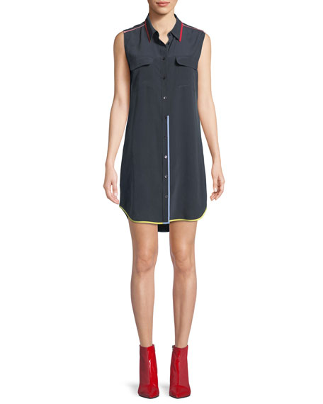 Contrast-Trim Signature Slim Silk Dress