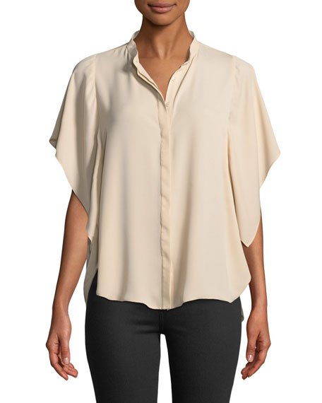 Amanda Uprichard Lori Short-Sleeve Button-Down Blouse