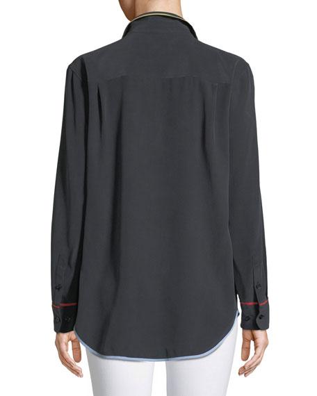 Reese Contrast-Trim Boyfriend Shirt