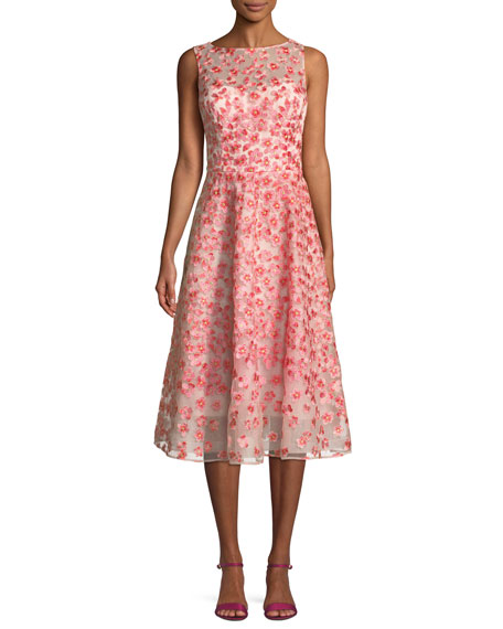 Rickie Freeman for Teri Jon Sleeveless Floral Embroidery