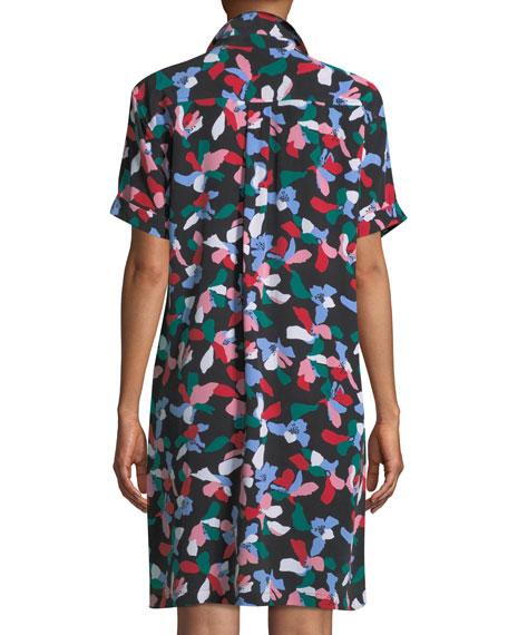 Mirelle Short-Sleeve Floral-Print Silk Dress
