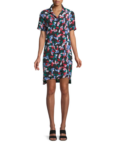 Mirelle Short-Sleeve Floral-Print Silk Dress