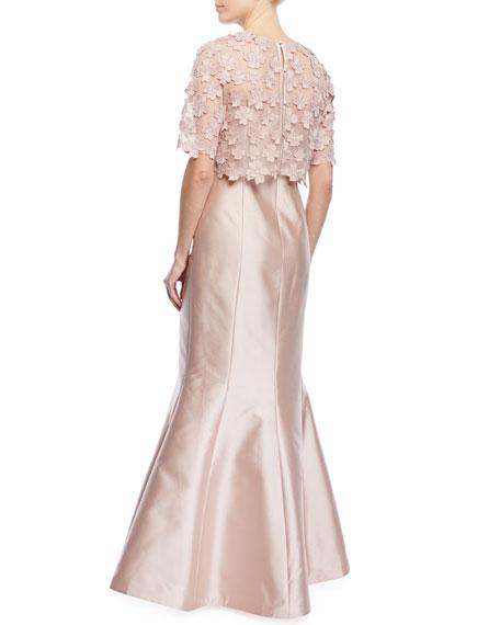 3D Floral Popover Lace Gazar Trumpet Gown