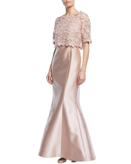 RICKIE FREEMAN FOR TERI JON 3D Floral Popover Lace Gazar Trumpet Gown in Pink