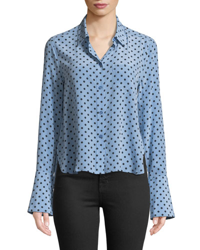 Huntley Dot-Print Silk Boyfriend Crop Shirt