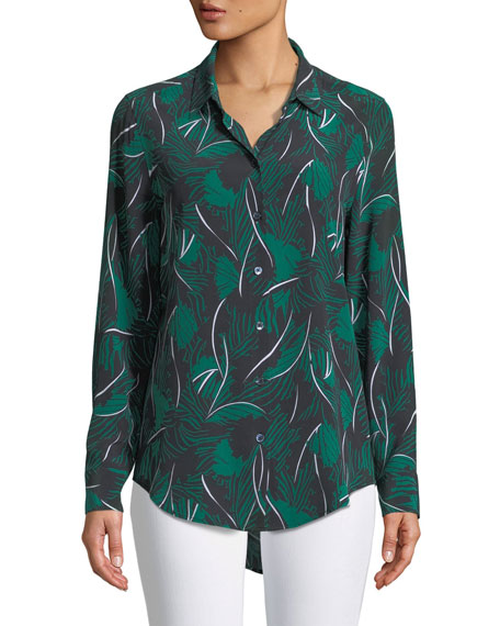 Essential Palm Leaf-Print Silk Shirt