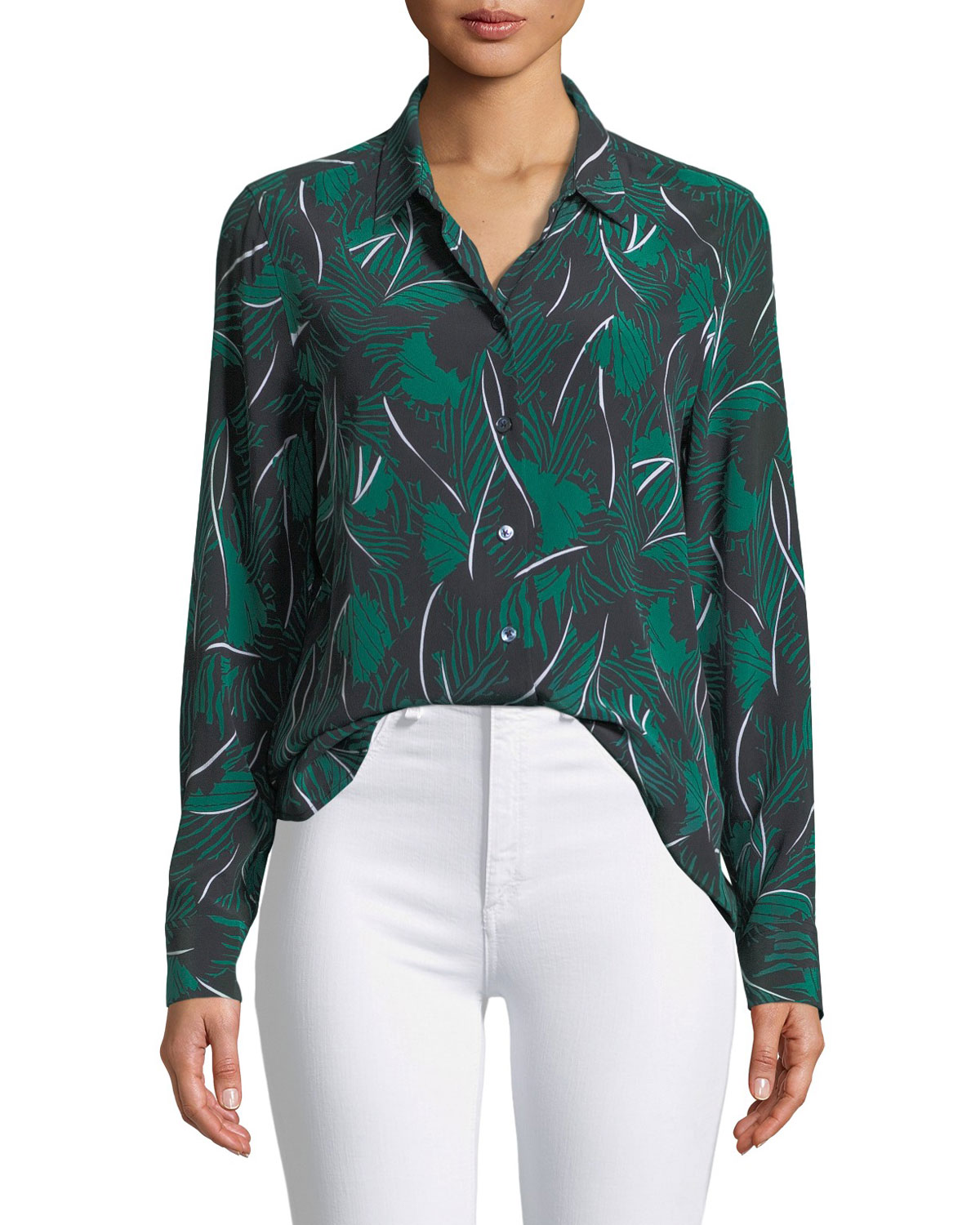 Equipment Essential Palm Leaf Print Silk Shirt Neiman Marcus