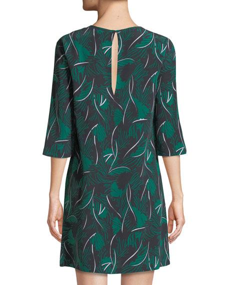 Aubrey Palm Leaf-Print 3/4-Sleeve Silk Dress