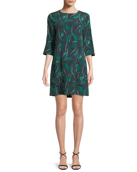 Equipment Aubrey Palm Leaf-Print 3/4-Sleeve Silk Dress
