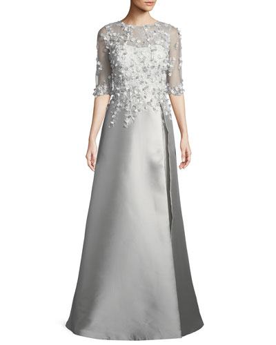 3D Embroidery Floral A-Line Gown