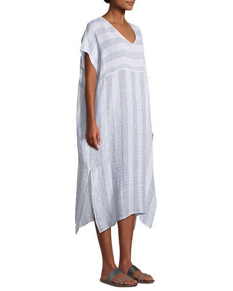 Gauze Striped Organic Linen V-Neck Dress, Plus Size