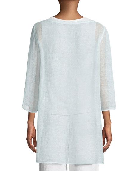 3/4-Sleeve Organic Linen Mesh Tunic, Petite