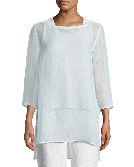 Eileen Fisher 3/4-Sleeve Organic Linen Mesh Tunic, Petite