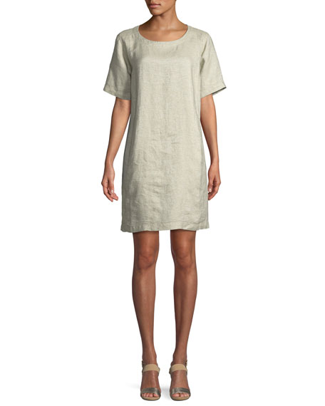 Eileen Fisher Twinkle Organic Linen Shift Dress, Petite