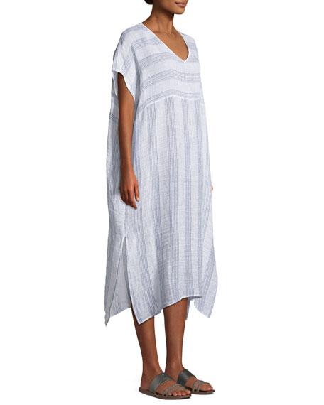 Gauze Striped Organic Linen V-Neck Dress, Petite