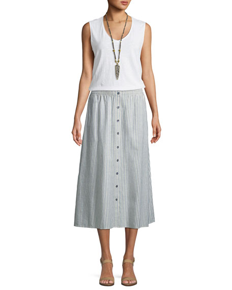 Hemp-Blend Long Striped Skirt