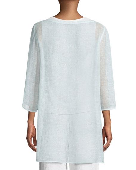3/4-Sleeve Organic Linen Mesh Tunic