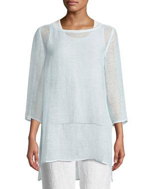 9d9df145e32 Eileen Fisher 3 4-Sleeve Organic Linen Mesh Tunic