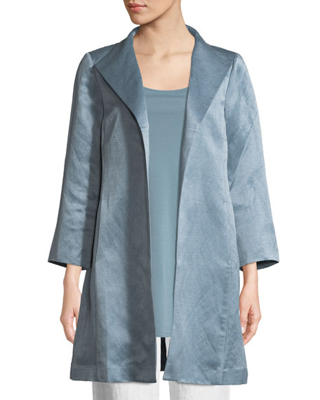 Organic-Linen/Silk Satin High-Collar Coat, Plus Size