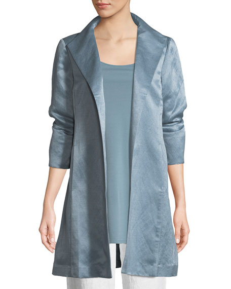 Eileen Fisher Organic-Linen/Silk Satin High-Collar Coat, Plus