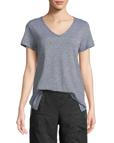 Eileen Fisher Organic Linen Striped Jersey Top and