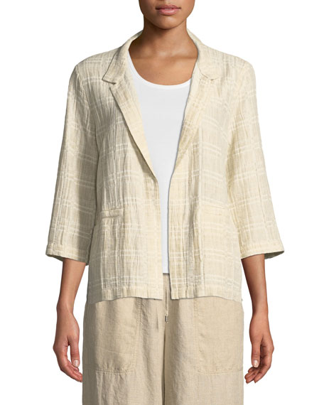 3/4-Sleeve Division Jacquard Jacket, Plus Size