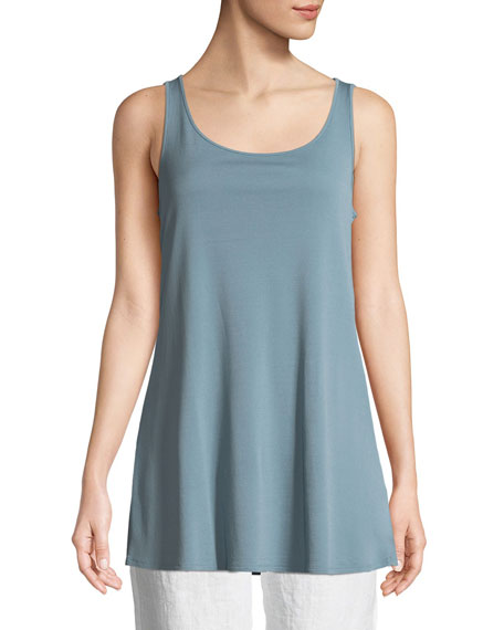 Stretch-Silk Jersey Sleeveless Tunic, Plus Size