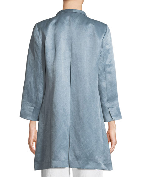 Organic-Linen/Silk Satin High-Collar Coat