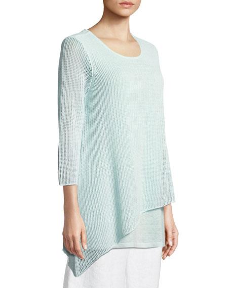 Organic Linen 3/4-Sleeve Round-Neck Knit Tunic, Plus Size