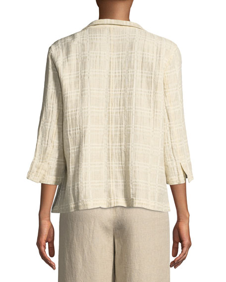 3/4-Sleeve Division Jacquard Jacket, Petite