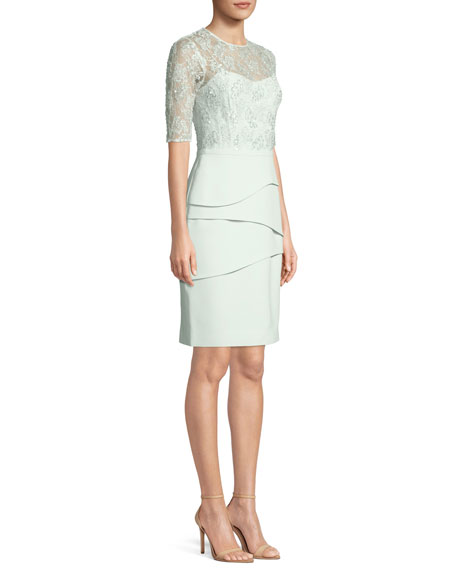 Illusion Lace Half-Sleeve Tiered Dress