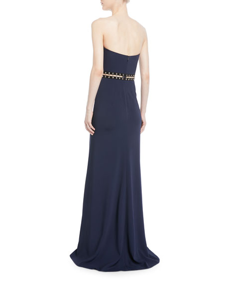 Strapless Crepe Bustier Gown with Grommet Details