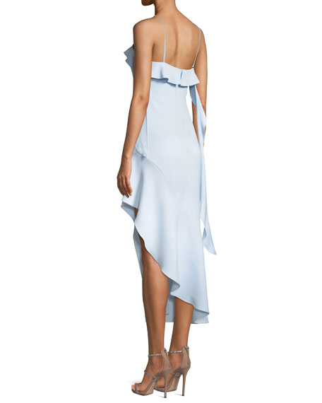 Cutout High-Low Ruffle Cocktail Dress
